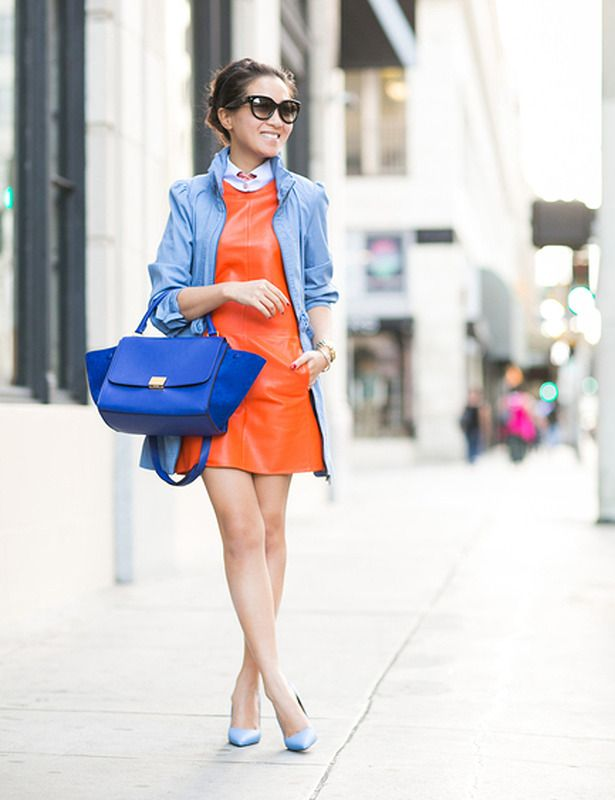 Orange dress blue nails pictures