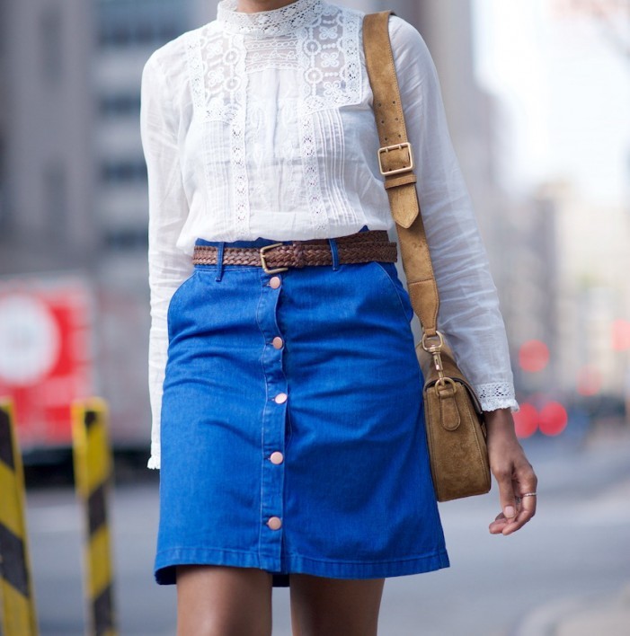How To Wear: A Line Button-Front Skirts