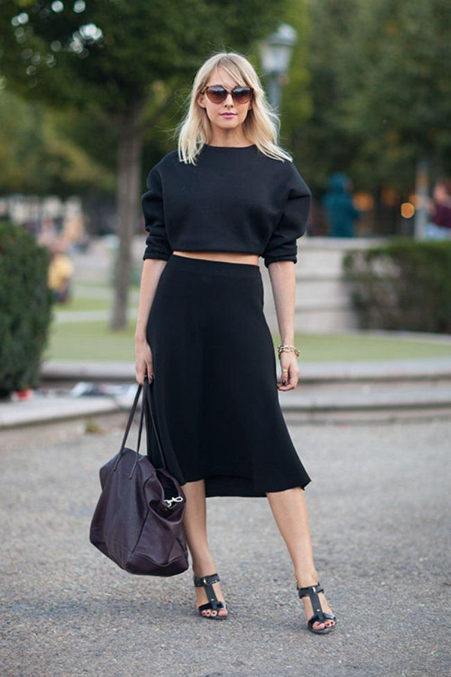 High Waisted Black Midi Skirt