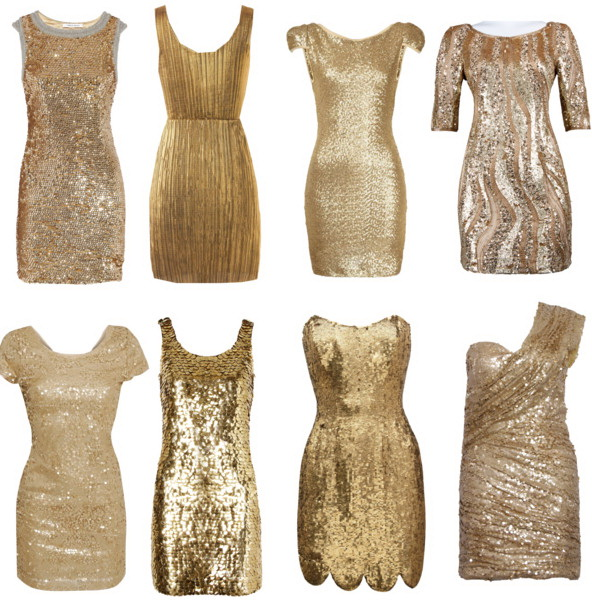 New Years Eve Sequin and Gold Dresses