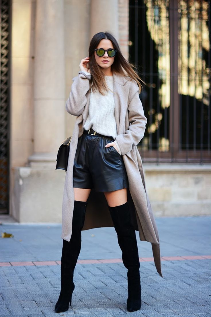 Long sleeve dress thigh high boots