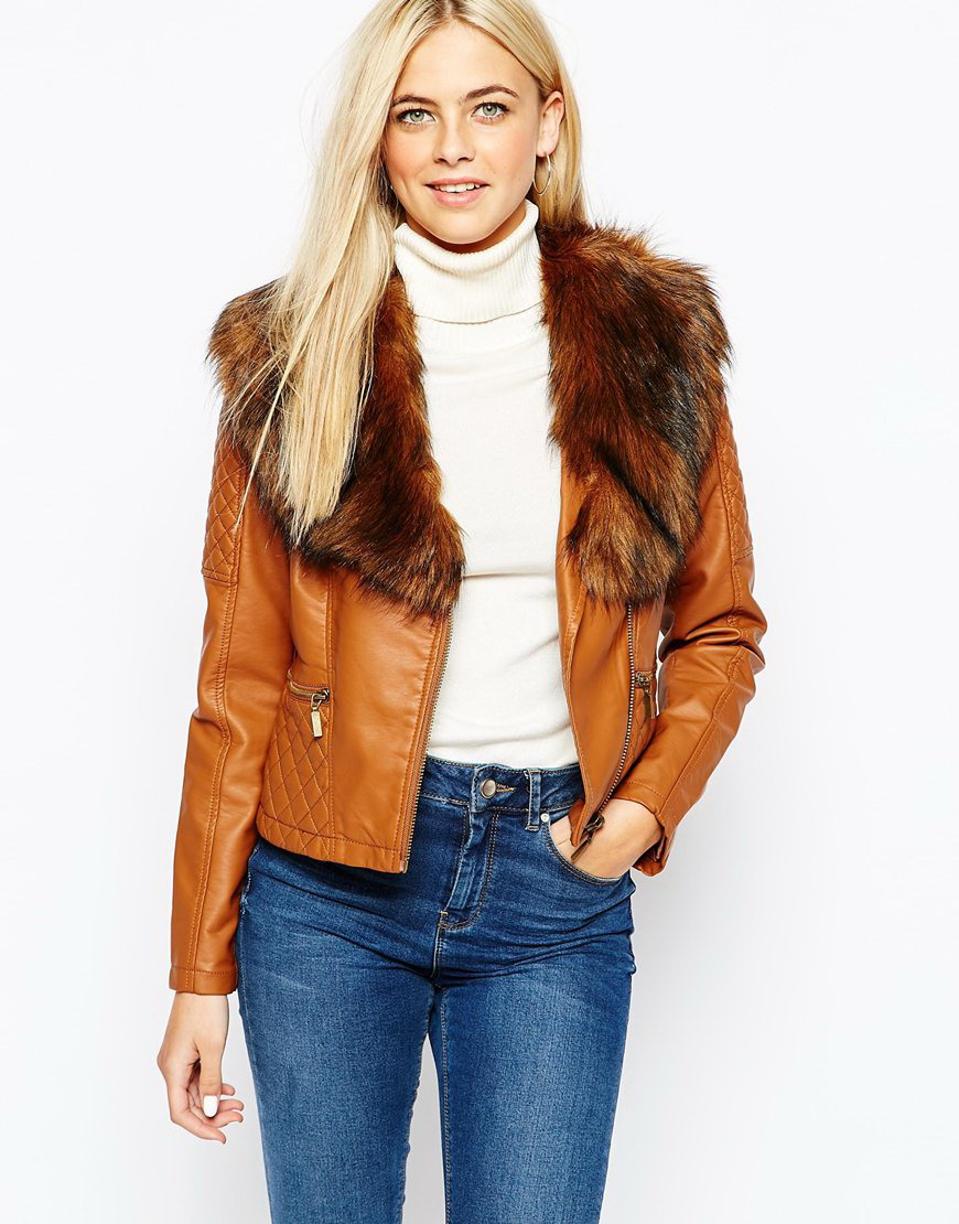 Womens faux leather jacket tan – Modern fashion jacket photo blog