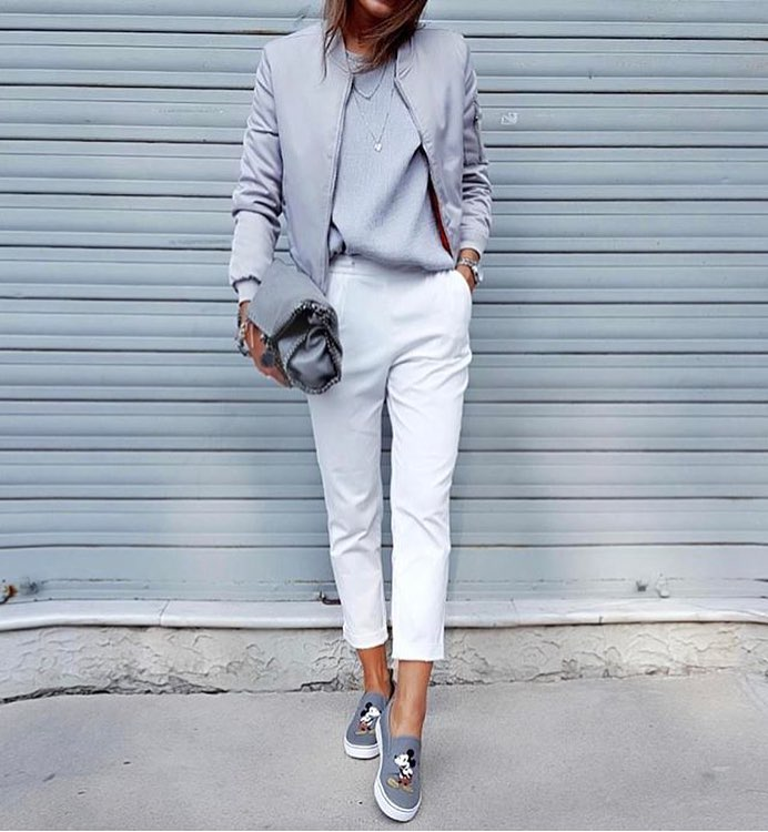Grey Bomber And White Pants: Modern Normcore Outfit Idea 2019