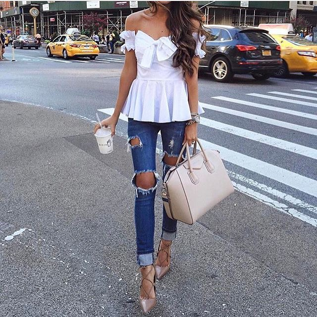 Off Shoulder White Peplum Blouse And Ripped Skinny Jeans With Beige Pumps 2020