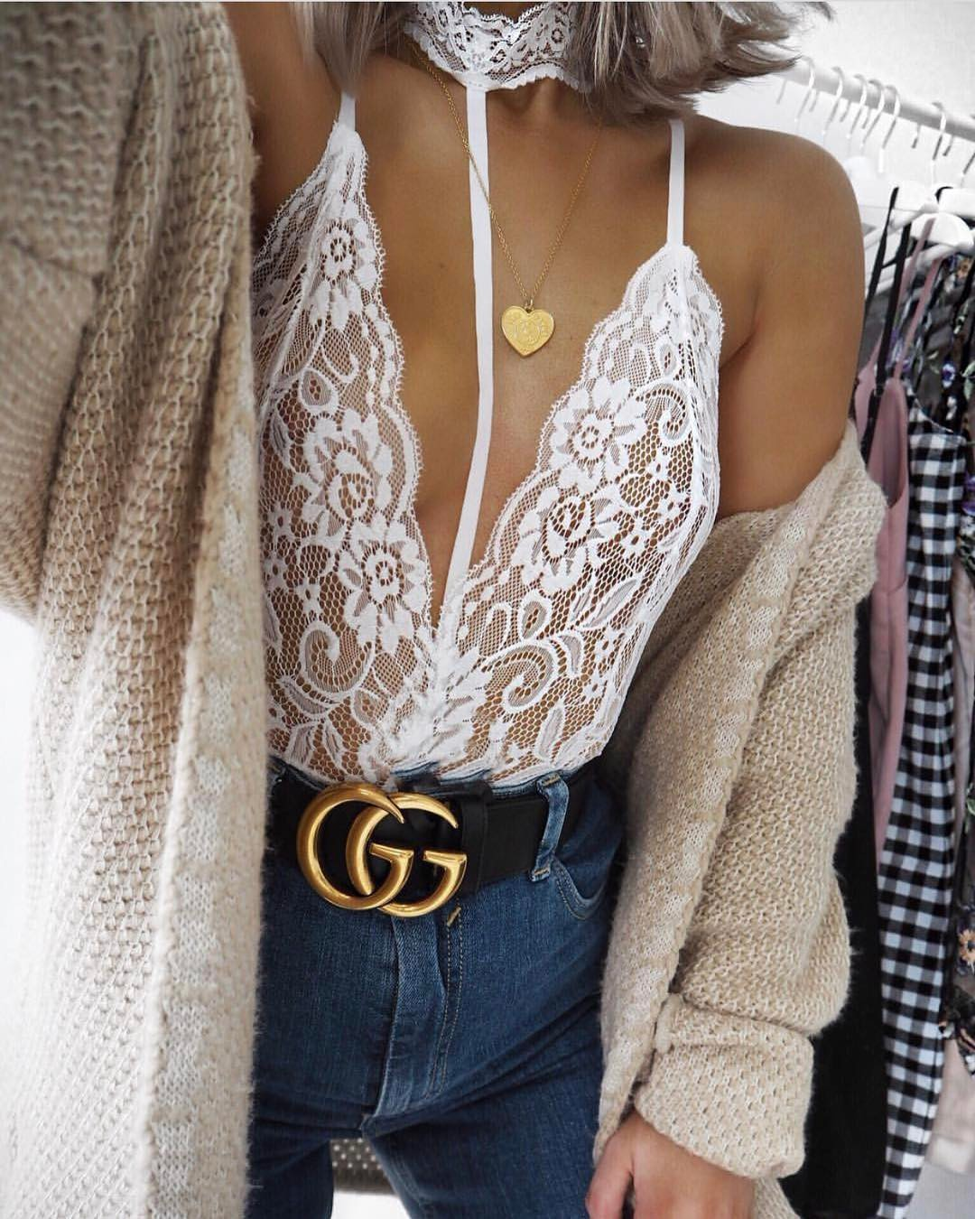 Cream Wool Cardigan With White Lace Bodysuit And Blue Jeans For Spring 2020