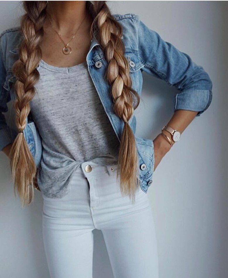 Light Blue Denim Jacket With Cream Grey Top And White Skinny Jeans 2019
