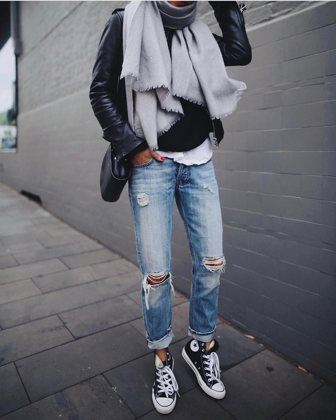 How To Wear Grey Scarf And Black Leather Jacket This Fall 2019