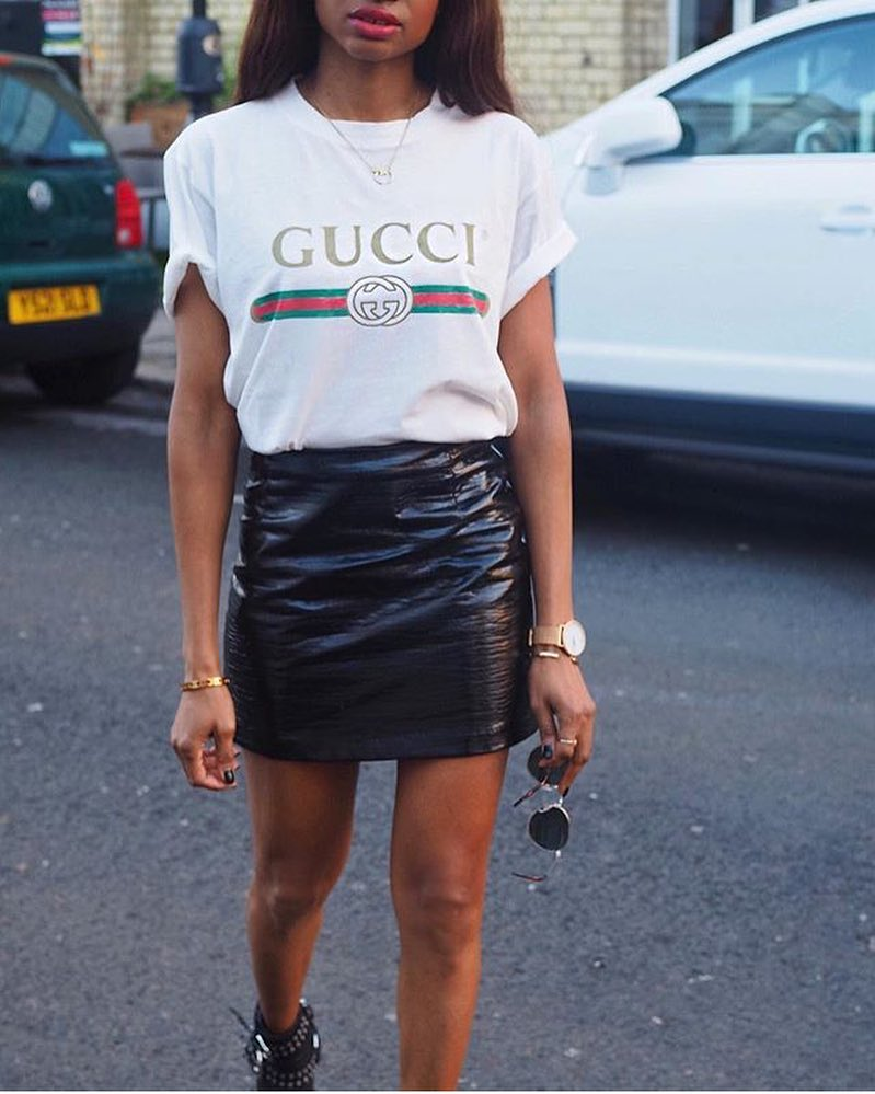 White T-Shirt And Black Leather Mini Skirt Combination 2020