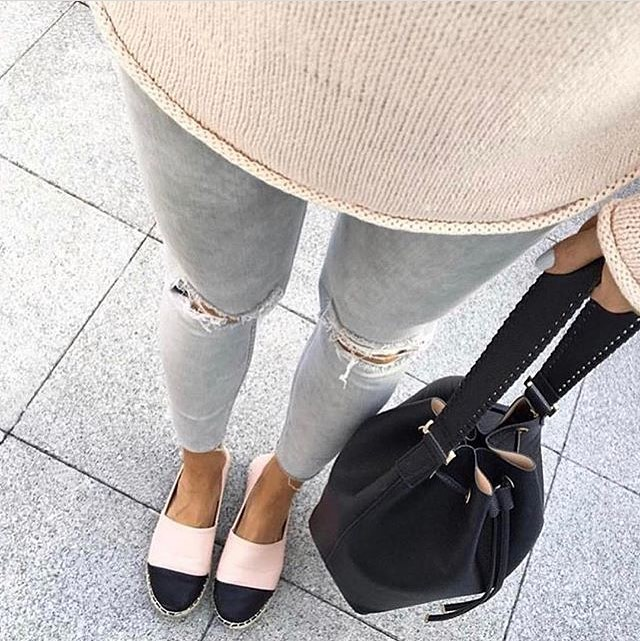 Two Color Espadrilles With Wash Grey Ripped Skinny Jeans And Blush Sweater 2019
