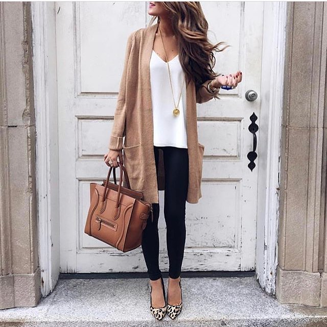 Long Camel Cardigan With Black Coated Skinnies And Leopard Loafers 2020
