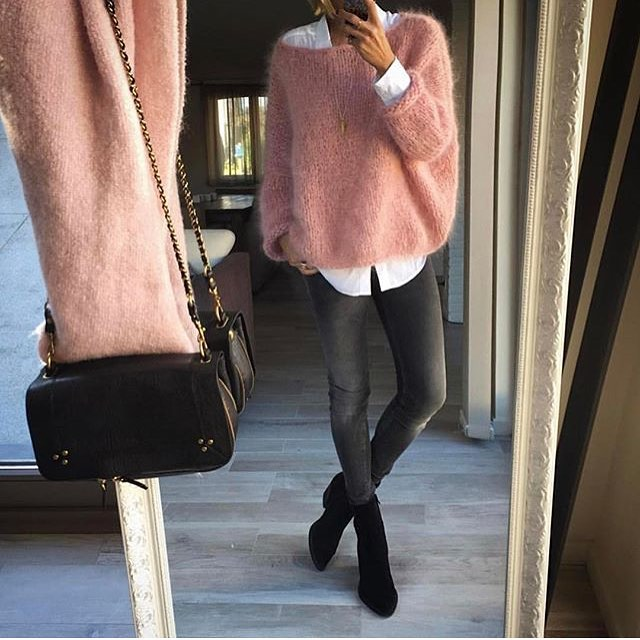 Can I Wear Mohair Sweater In Pink With Grey Skinny Jeans 2019