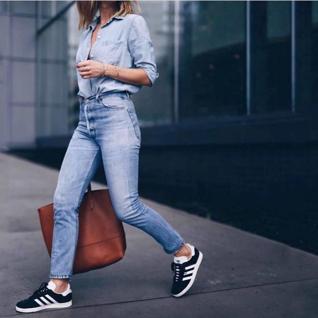 Double Denim Look With Black Sneakers For Summer 2019