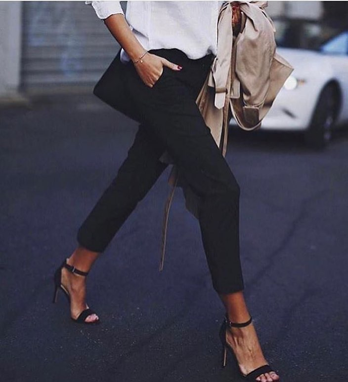 Ankle Strap Heeled Sandals And Black Pants For Office Work 2019