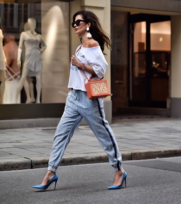 Off Shoulder Top With Jogger Pants And Blue Heeled Pumps For Summer 2019