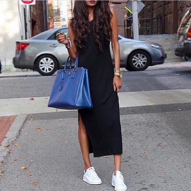 Midi Black Tank Dress And White Kicks For Summer 2021