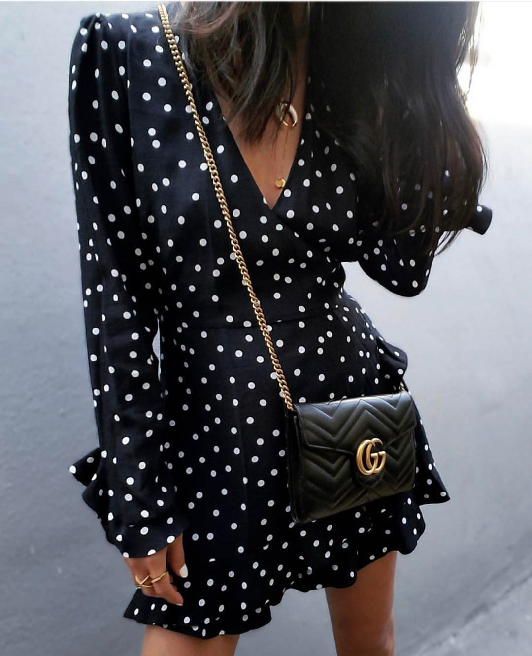 White Dotted Black Dress With Long Sleeves For Summer 2019