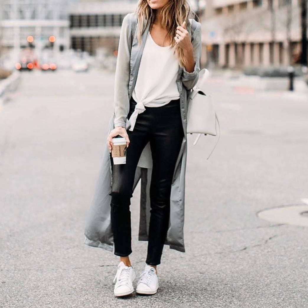 Long Grey Coat With White Tank Top And Black Slim Leather Pants For Spring 2021