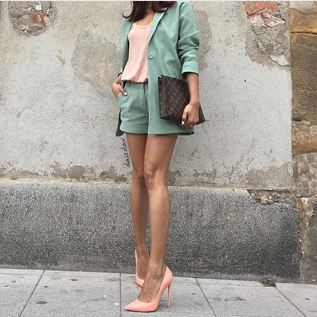 Pastel Green Shorts Suit For Summer 2019
