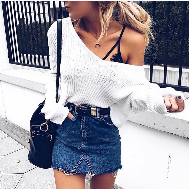 Drop Shoulder White Sweater Tucked In Denim Skirt 2020