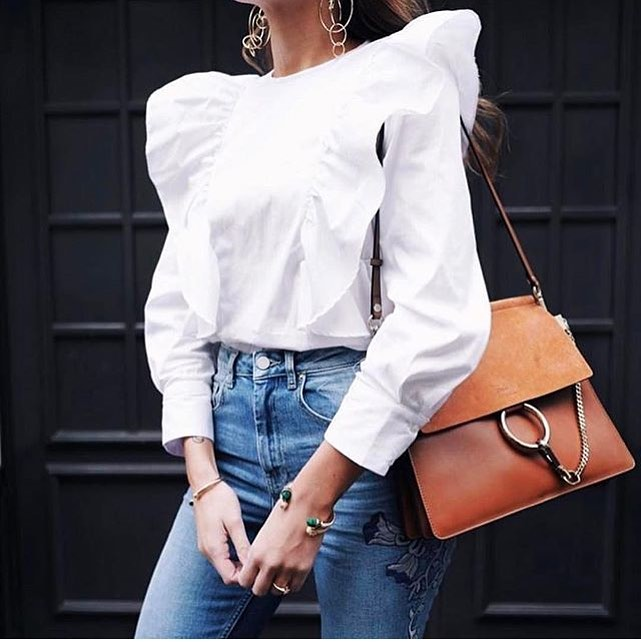 White Blouse With Puff Shoulders And Embroidered Skinny jeans For Day Wear 2019