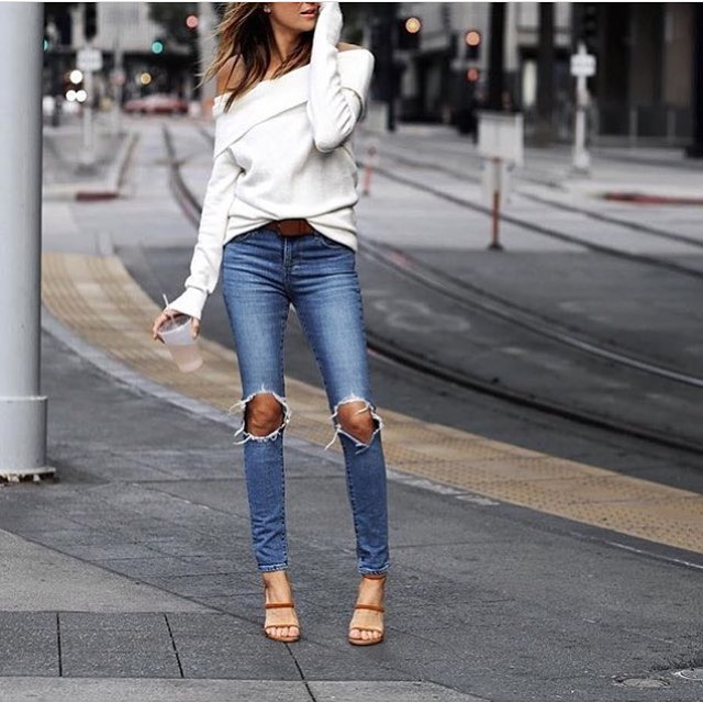 Off Shoulder White Sweater And Knee-Ripped Slim Jeans For Spring Walks 2021