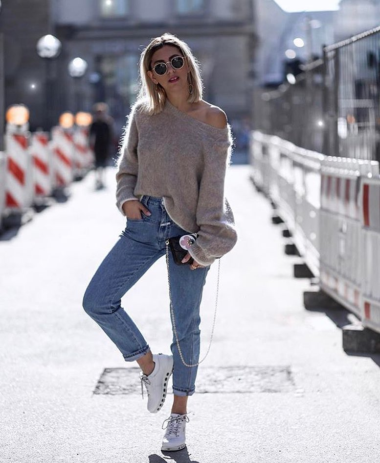 Drop Shoulder Mohair Sweater In Grey And Cuffed Wash Blue Jeans Combo 2020