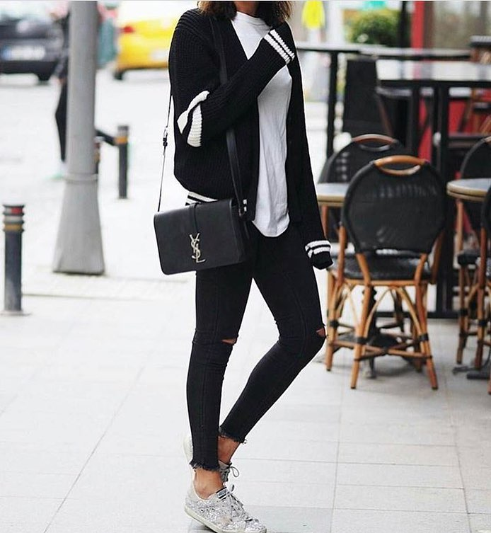 Black Cardigan Looks Perfect With White Tee And Black Denim 2021