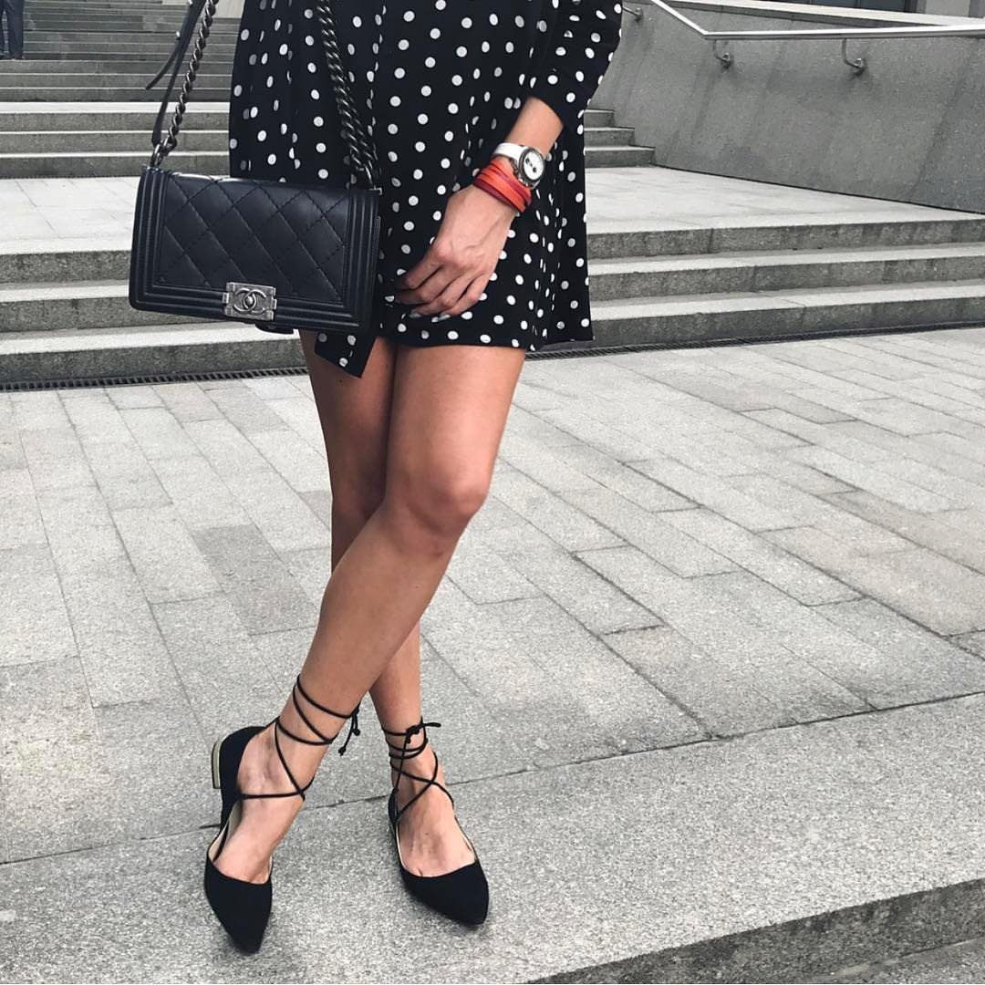 Black Flat Pumps With Lace Ups And White Dotted Black Dress For Summer 2019