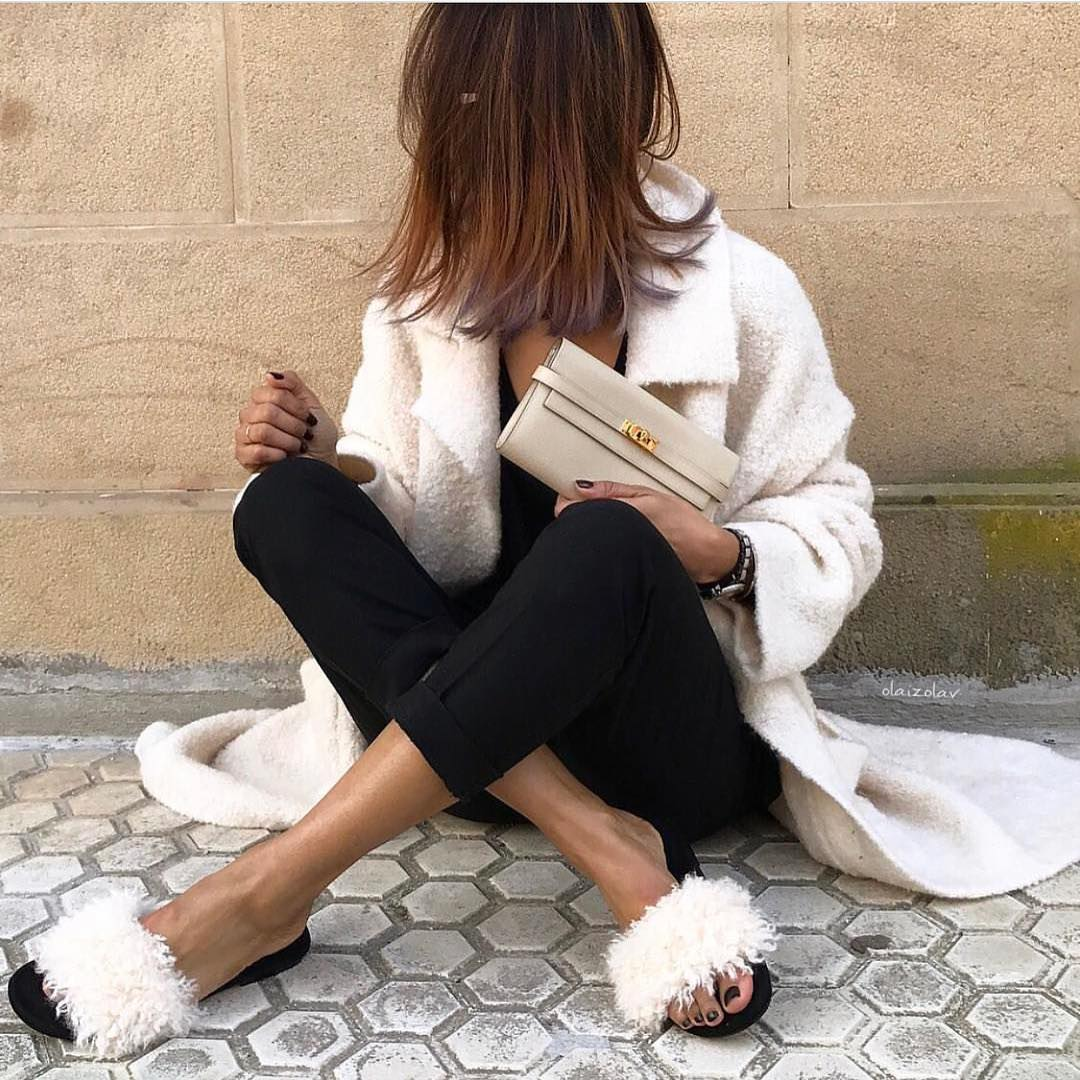 Mohair White Coat With Cuffed Black Pants And White Fur Slides: Spring Essentials 2020