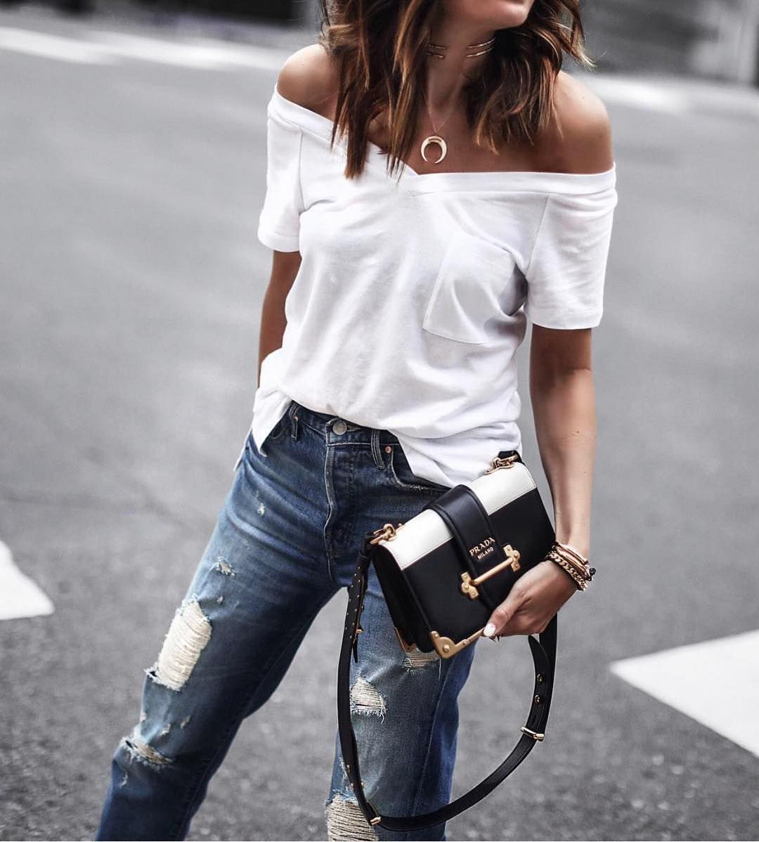Off Shoulder White Top And Ripped Jeans For Casual Summer 2019