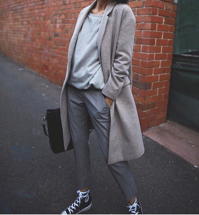 Grey Coat With Matching Top And Pants: Monochrome OOTD 2020