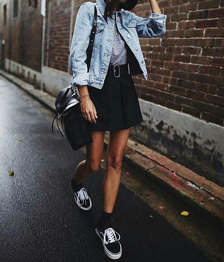 Blue Denim Jacket And Black Mini Skirt For Street Walks 2019