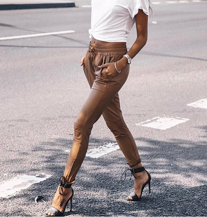 Camel Leather Jogger Pants With White T-Shirt And Black Heeled Sandals 2021