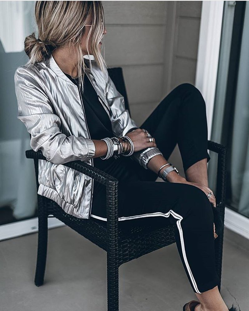 Silver Metallic Bomber And Black Joggers For Casual Street Walks 2020