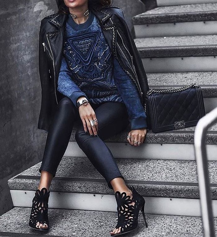 Double Black Leather Look With Embroidered Navy Sweater 2019