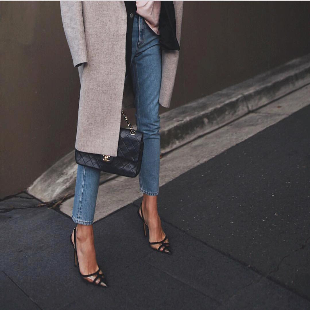 Caged Clear Heeled Pumps With Slim Jeans And Grey Wool Coat For Fall 2020