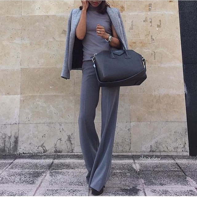 Pantsuit Office Monochrome Outfit Idea 2019