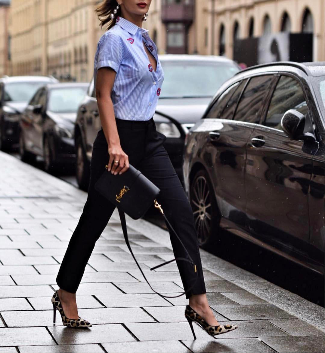 Pinstripe Shirt With Black Pants And Leopard Pumps: Office Style Look 2021