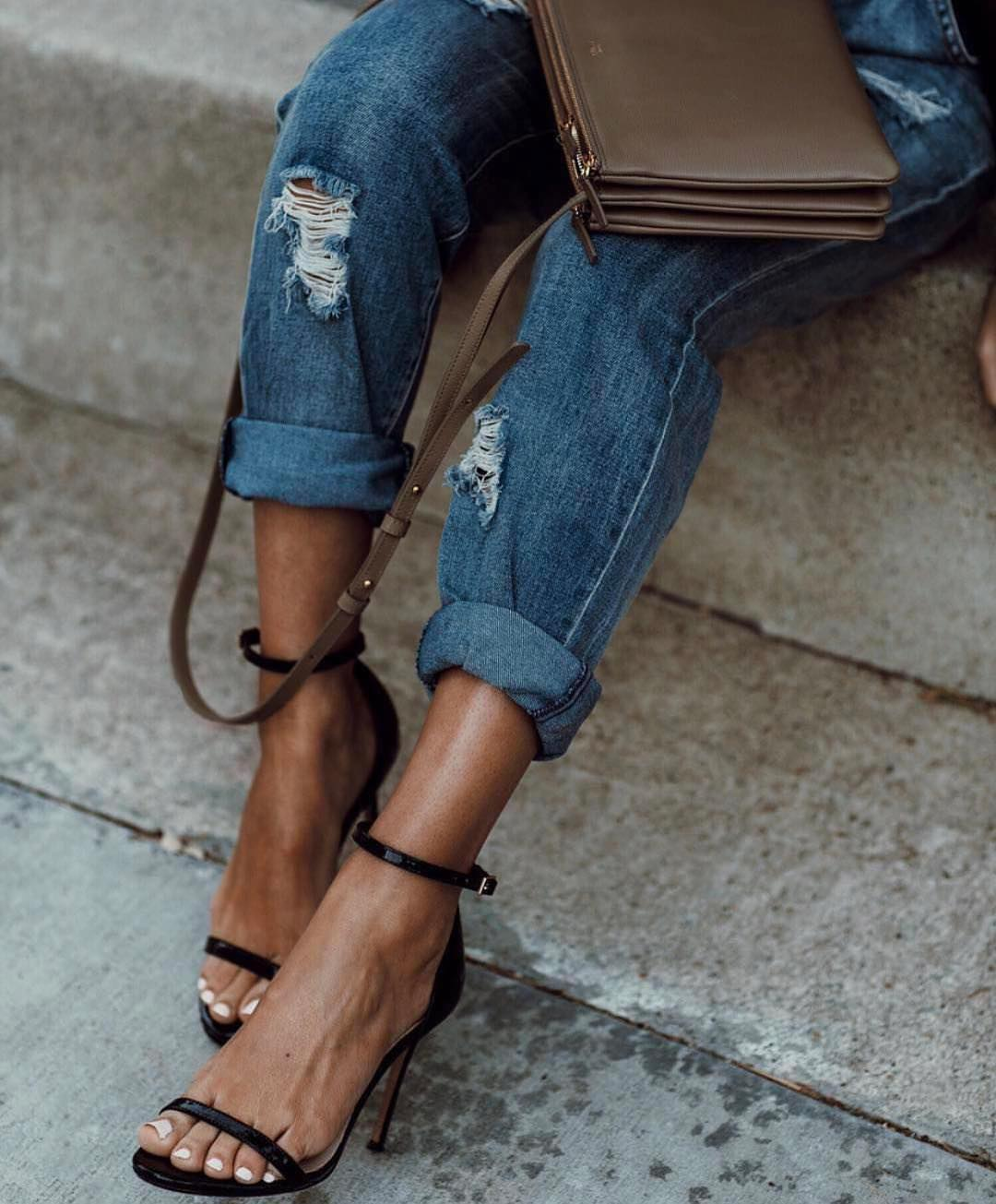 Cuffed Boyfriend Jeans And Ankle Strap Heeled Sandals In Black 2021