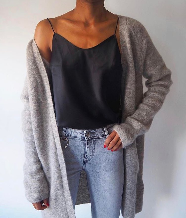 Cream Grey Cardigan With Silk Slip tank top In Black And Wash Jeans 2021