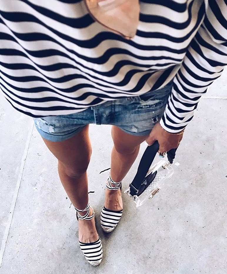 Striped Fashion Trend: Striped Top With Denim Shorts And Striped Espadrilles 2019