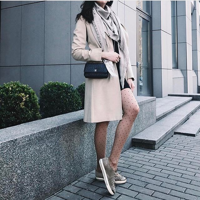 Cream White Coat And Dotted Tights For Fall 2019