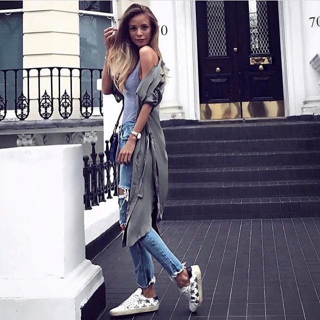 Khaki Olive Coat With Grey Tank Top And Ripped Jeans For Summer 2019