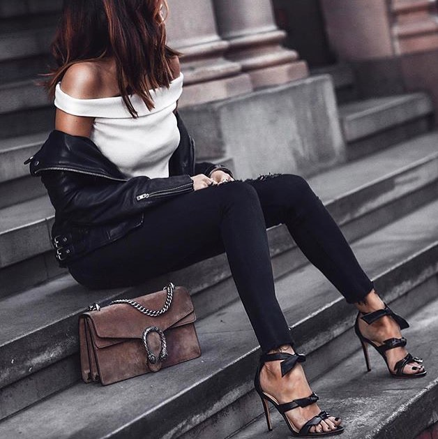 Off Shoulder White Top Looks Amazing With Black Leather Jacket And Black Skinny Jeans 2019