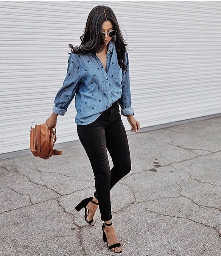 Denim Shirt In Stars Print With Black Skinny Jeans And Block Heel Sandals 2021