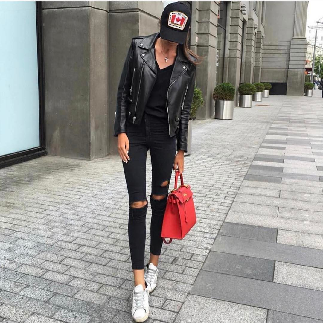 All In Black With Leather Jacket And White Kicks: Urban Cool Style 2019