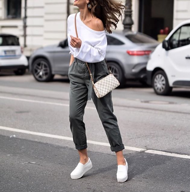 Off Shoulder White Top And Khaki Pants For Summer 2020