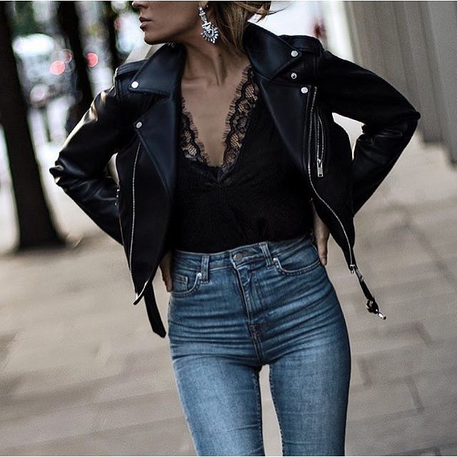 Black Leather Jacket With Black Slip Top And High-Rise Jeans 2019