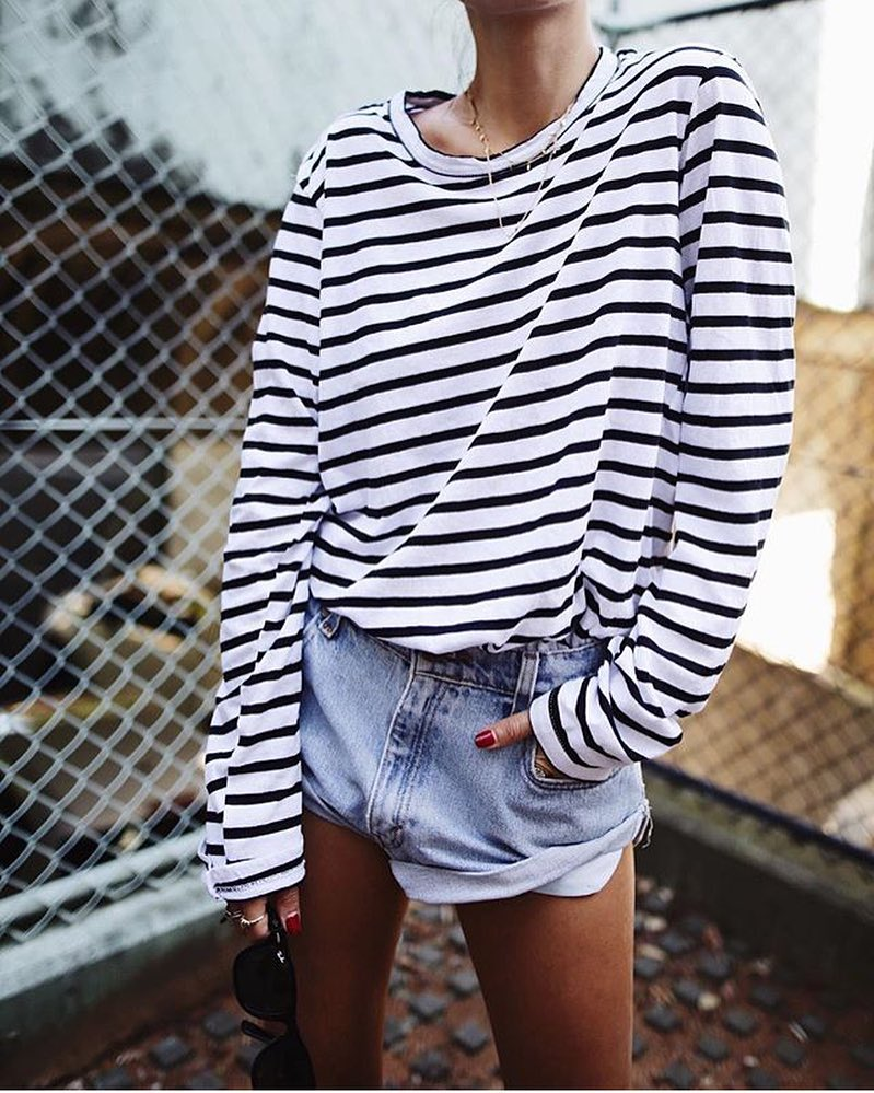 Black-White Striped Top And Denim Shorts: Normcore Summer Style 2019