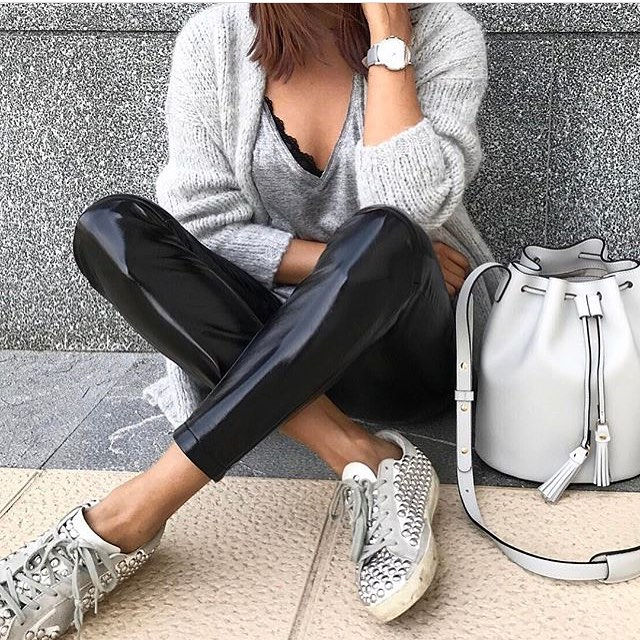 Cream Grey Cardigan And Glossy Black Leather Pants With Studded White Kicks 2019
